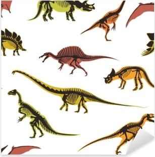 Adesivo Pixerstick Tipi dei dinosauri e dei pterodattili di modello senza cuciture degli animali isolato sul vettore bianco del fondo.