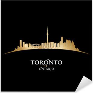 Adesivo Pixerstick Toronto, Ontario Canada skyline della città silhouette sfondo nero