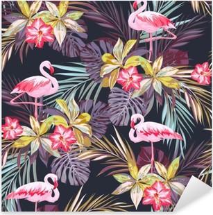 Adesivo Pixerstick Tropical seamless estate con gli uccelli e piante esotiche fenicottero