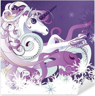 Adesivo Pixerstick Unicorno bianco