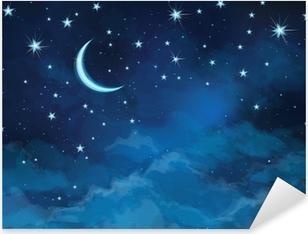 Adesivo Pixerstick Vector night cielo di sfondo stelle e la luna.