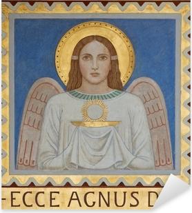 Adesivo Pixerstick Vienna - Affresco di Angelo simbolica con l'Eucaristia
