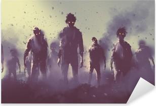 Adesivo Pixerstick Zombie folla che cammina di notte, concetto halloween, illustrazione pittura