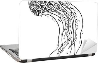 Adesivo para Notebook Desenhado mão medusa do vetor no estilo do doodle preto e branco.