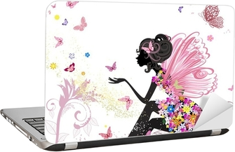 Adesivo para Notebook Flower Fairy in the environment of butterflies