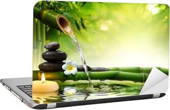 Adesivo para Notebook spa stones in garden with flow water