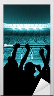 Adesivo para Porta Silhouettes of football supporters