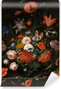 Afwasbaar Fotobehang Abraham Mignon - Flowers in a Glass Vase