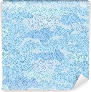 Afwasbaar Fotobehang Abstract swirl cloud vormen geometgric betegeld patroon in chinese stijl hemel sier achtergrond