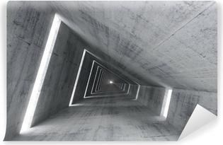 Afwasbaar Fotobehang Abstracte lege betonnen interieur, 3d renderen van hellende tunnel
