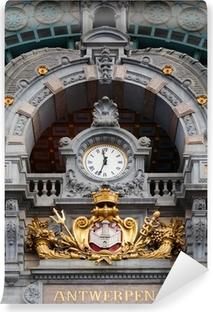 Afwasbaar Fotobehang Antwerpen-Centraal klok