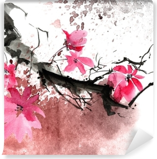 Afwasbaar Fotobehang Aquarel bloesem boom