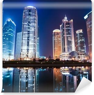 Afwasbaar Fotobehang Avond uitzicht van Sjanghai financiële centrum wijk