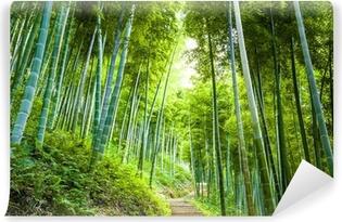 Afwasbaar Fotobehang Bamboebos en loopbrug