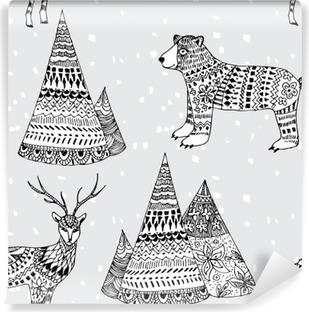 Afwasbaar Fotobehang Beer, herten en de bergen hand getekende winter patroon
