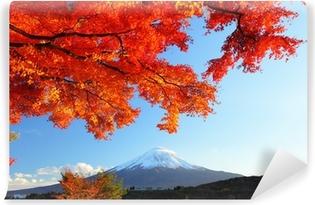 Afwasbaar Fotobehang Berg Fuji en esdoorn