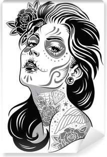 Afwasbaar Fotobehang Black and White Day of Dead Girl Vector Illustratie
