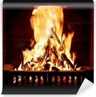 Afwasbaar Fotobehang Brandend vuur in de open haard