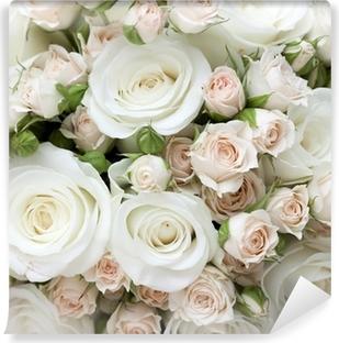 Afwasbaar Fotobehang Bruiloft boeket van pinkand witte rozen