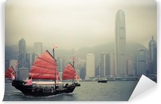 Afwasbaar Fotobehang Chinese stijl zeilboot in Hongkong