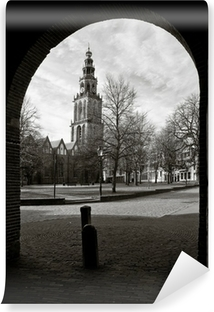 Afwasbaar Fotobehang Cityscape van Groningen met de Martinitoren