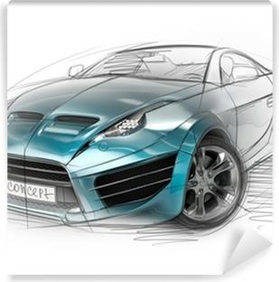 Afwasbaar Fotobehang Concept car sketch. Originele auto-ontwerp.