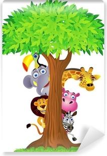 Afwasbaar Fotobehang Dier verbergen achter boom