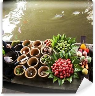 Afwasbaar Fotobehang Drijvende markt, Thailand