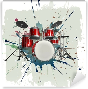 Afwasbaar Fotobehang Drumstel op grunge achtergrond