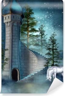 Afwasbaar Fotobehang Fee kasteeltoren met een eenhoorn