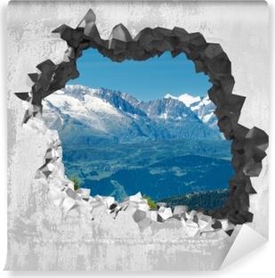 Afwasbaar Fotobehang Gat in de muur - Panorama van de hoge bergen