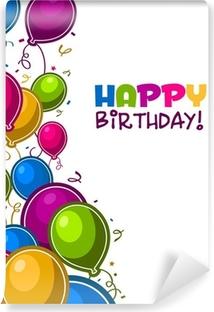 Afwasbaar Fotobehang Gelukkige verjaardag met ballonnen