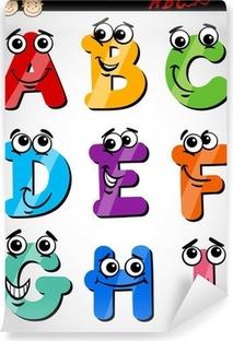 Afwasbaar Fotobehang Grappige brieven alfabet cartoon illustratie