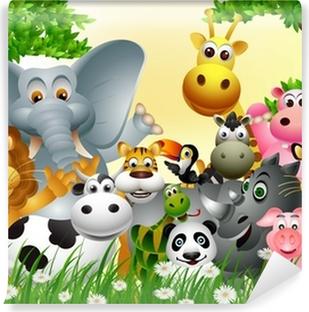 Afwasbaar Fotobehang Grappige dieren cartoon met tropische bos achtergrond