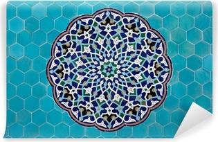 Afwasbaar Fotobehang Islamitische mozaïek patroon met blauwe tegels