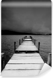 Afwasbaar Fotobehang jetty view in black & white