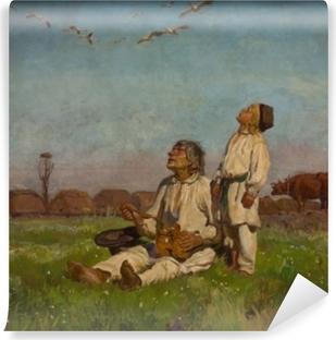 Afwasbaar Fotobehang Józef Chełmoński - Čápi