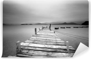 Afwasbaar Fotobehang Kijkt uit over een pier en boten, zwart en wit
