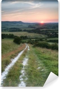 Canvas Landschap Foto Van De Zomer Zonsondergang Uitzicht
