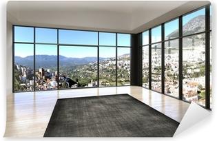 Canvas Lege kamer interieur met kamerhoge ramen en schilderachtige ...