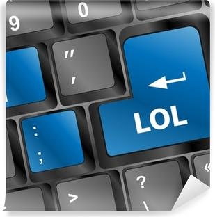 Afwasbaar Fotobehang Lol knop op toetsenbord van de computer pc sleutel