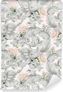 Afwasbaar Fotobehang Luxe rococo ornament met rozen bloemen achtergrond vector. delicate rijke imperiale ingewikkelde elementen. Victoriaanse koninklijke stijl patroon