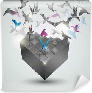 Afwasbaar Fotobehang Metamorphosis.Cube wordt transformeren in een zwerm vogels.