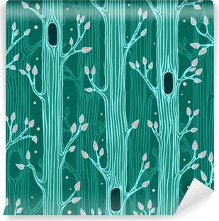 Afwasbaar Fotobehang Naadloos patroon met bomen