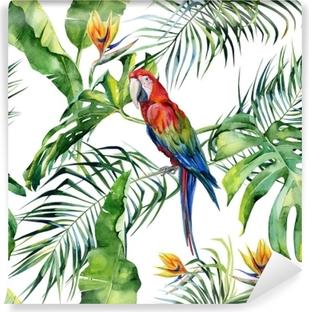 Afwasbaar Fotobehang Naadloze aquarel illustratie van tropische bladeren, dichte jungle. Geelvleugelara papegaai. strelitzia reginae bloem. hand geschilderd. patroon met tropisch zomermotief. kokosnoot palmbladeren.
