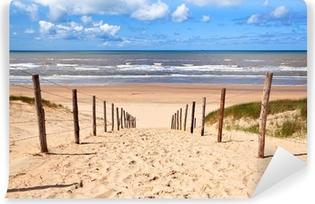 Afwasbaar Fotobehang Pad naar zandstrand door Noordzee