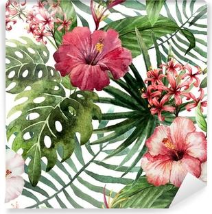 Afwasbaar Fotobehang Patroon orchidee hibiscus verlaat aquarel tropen