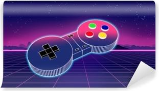 Afwasbaar Fotobehang Retro spelcontrolemechanisme op kleurrijke 3d illustratie als achtergrond