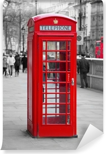 Afwasbaar Fotobehang Rode telefooncel in Londen