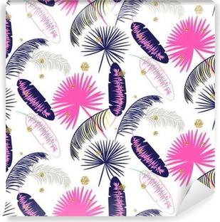 Afwasbaar Fotobehang Roze en blauwe banaan palmbladeren naadloze vector patroon op een witte achtergrond. Tropische banaan jungle blad. Glitter stippen.